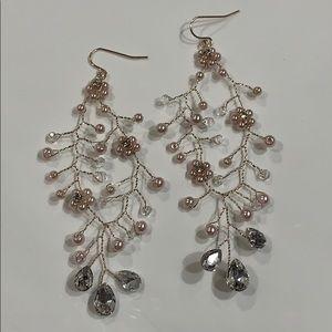 Jewelry - Rose Gold, Pearls, Bead & Rhinestone Wire Earrings